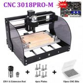 ?Upgraded Version?CNC 3018 Pro Engraving Machine, 300*180*45mm, 3 Axis Mini DIY CNC Router Machine, PCB Wood Plastic Milling Machine with Offline Controller + 5mm ER11 Extension Rod + 10pcs CNC Bits