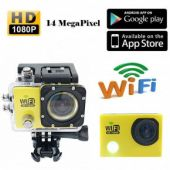 DEVELOP Waterproof Full HD Wifi Action Camera with Romete Control 1080P 720P 30fps 60fps 170 Degree Wide Angle Lens Mini Water Sport Camera Video Photo Cam for Cycling Diving Helmet Mount Car Recorder (Yellow)